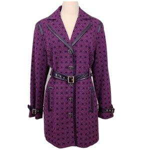 New York & Company Purple Belted Trench Coat M NEW